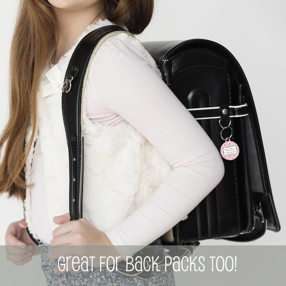 polka dot backpack tag