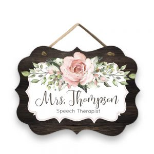 Blush Pink Roses Door Sign