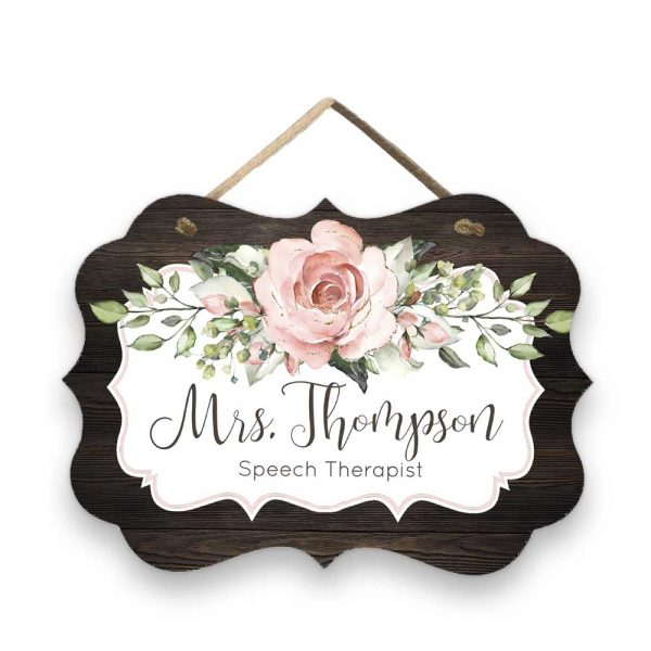 Blush Pink Roses Door Sign