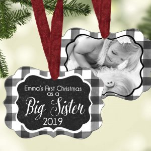 buffalo plaid photo ornament