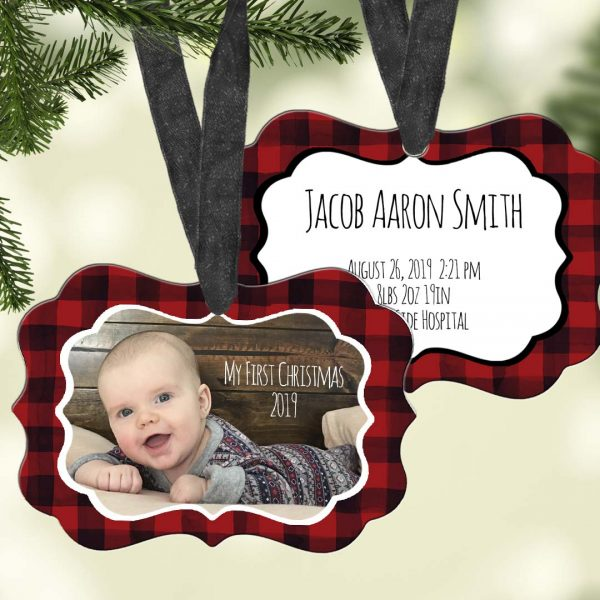 red and black plaid ornament