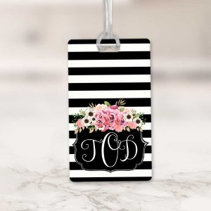 Striped Floral Luggage Tag