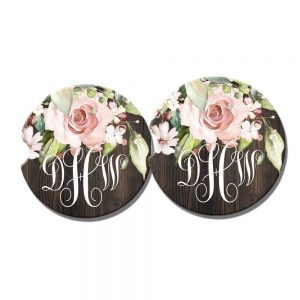 blush pink rose car coasters