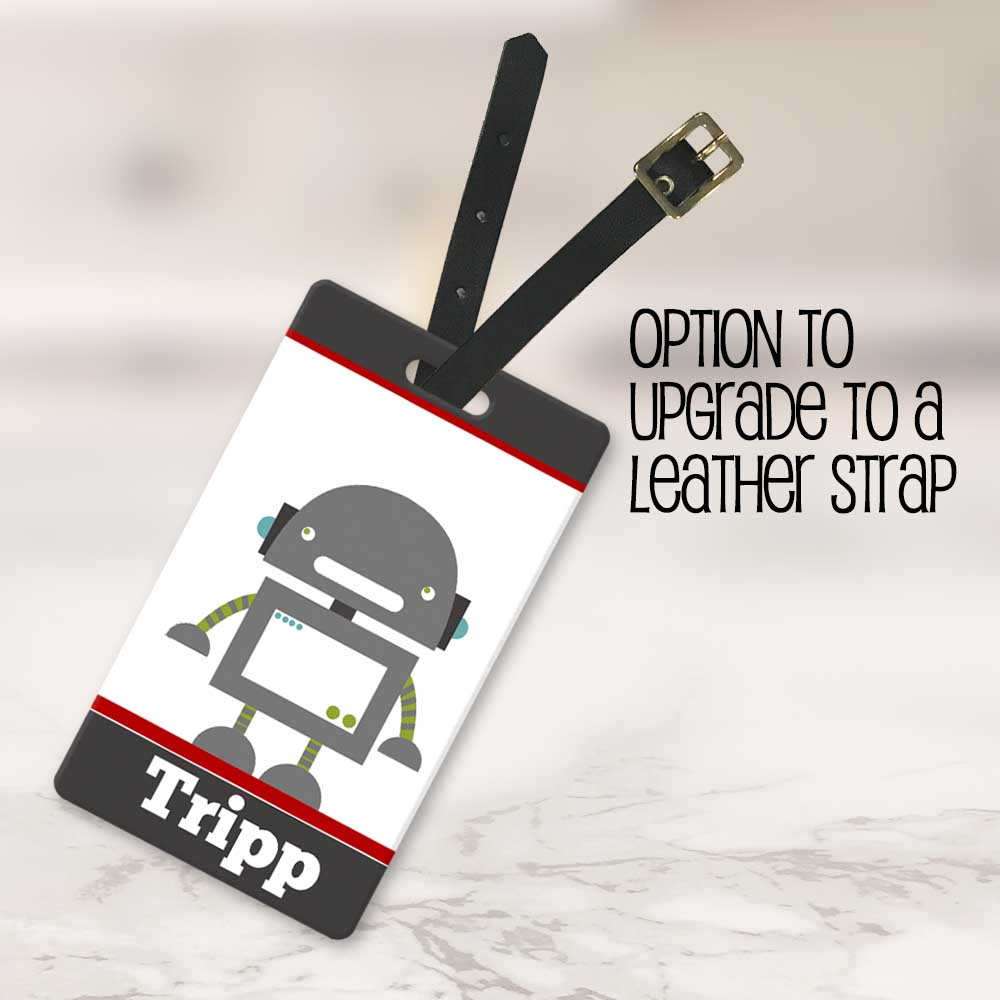 robot backpack tag