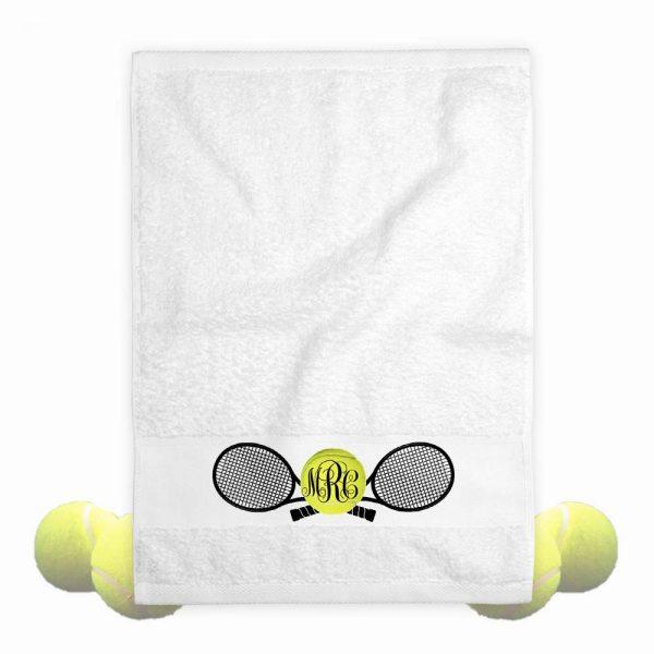 monogrammed tennis towel
