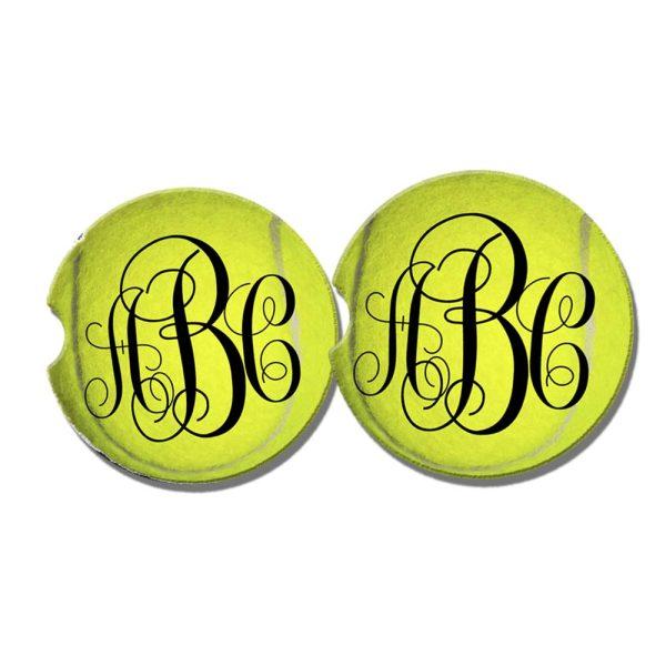 monogram tennis coaster