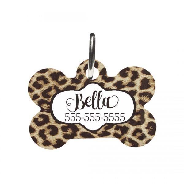 leopard print dog tag
