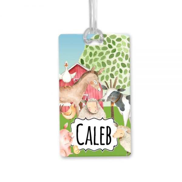 farmyard animals bag tag
