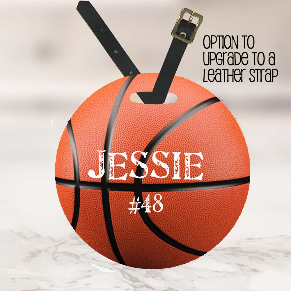 basketball tag with strap