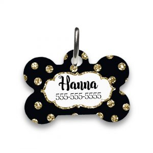 black and gold dog tag
