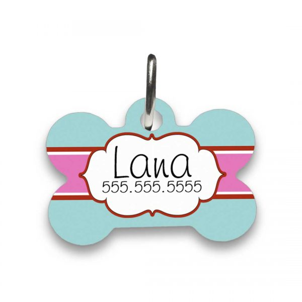 teal and pink pet id tag