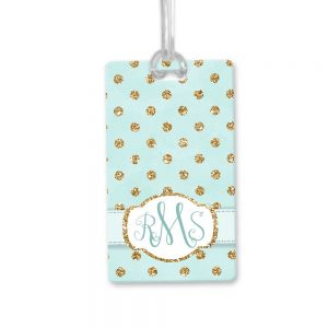 gold dots bag tag
