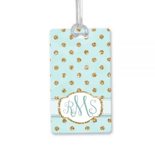 gold dots bag tag