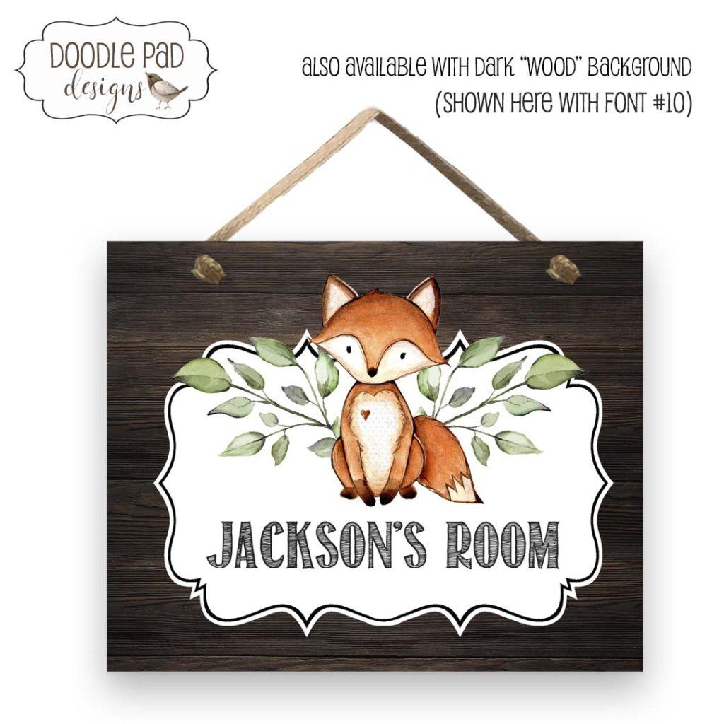 woodland fox door sign